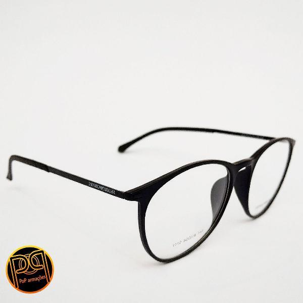 Armação de óculos redondo preto emporio armani