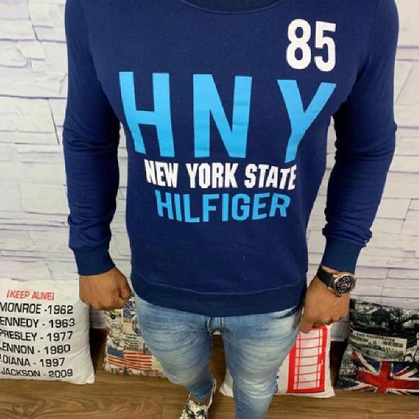 Blusa de frio tommy hilfiger - moletinho azul