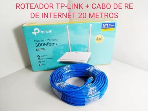 Kit roteador wi-fi tp link cabo de rede internet 20 metros