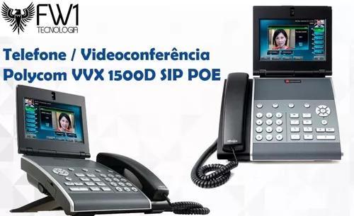 Telefone/ videoconferencia polycom vvx 1500d sip poe