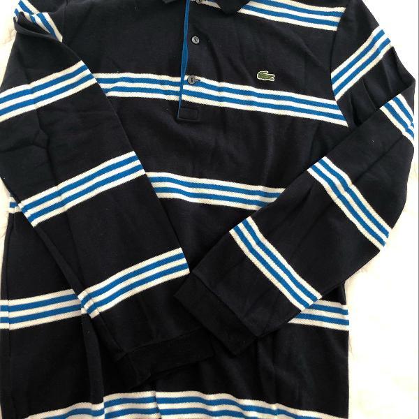 Blusa azul marinho listrada lacoste