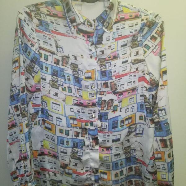 Camisa estampada manga comprida