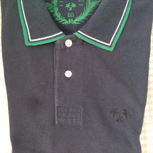Camisa pol da daslu, azul marinho, com friso verde claro