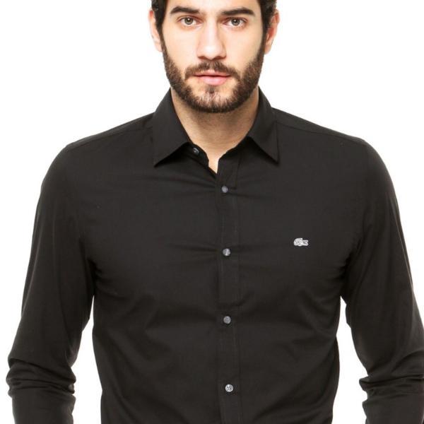Camisa social masculina manga longa lacoste
