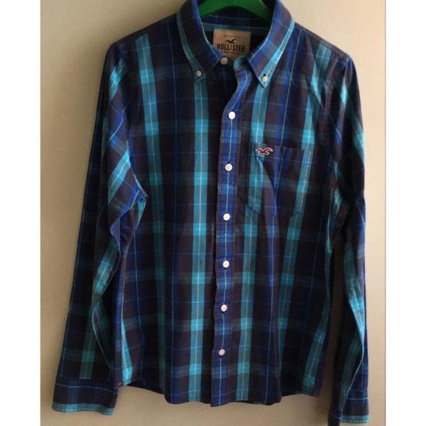 Camisa xadrez azul hollister