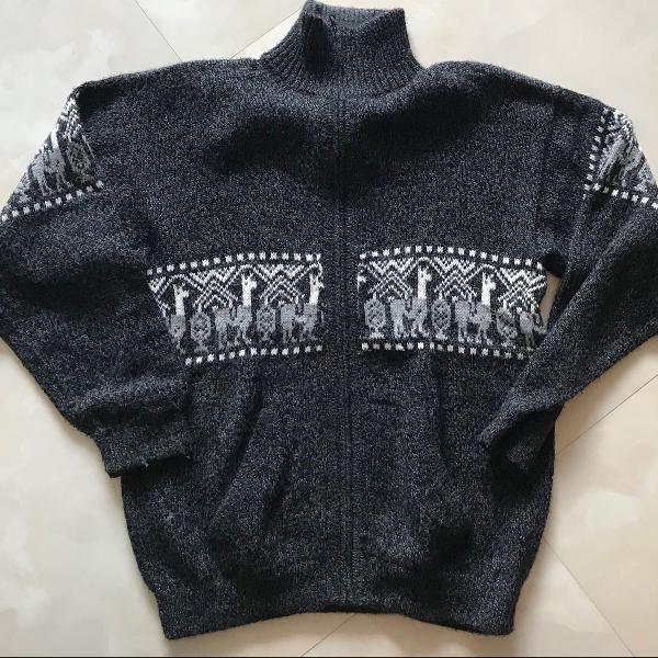Casaco de lã argentino cinza