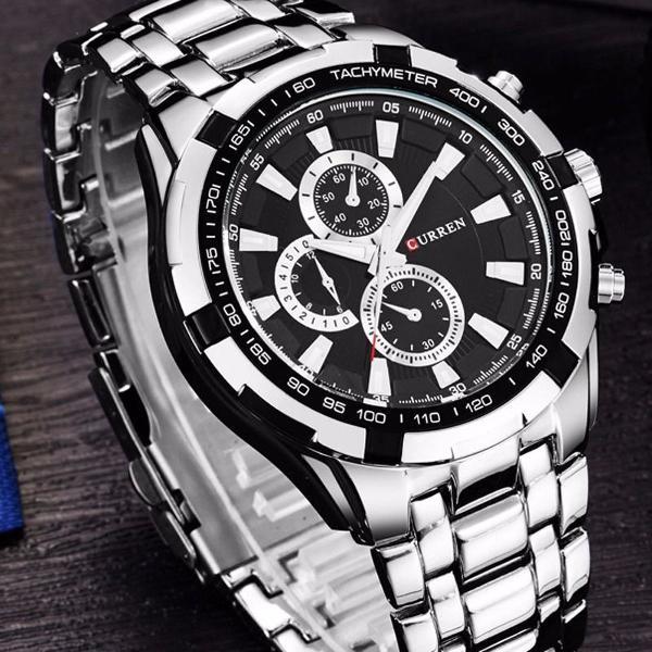 Relógio curren 8023 prova d'água 30m pulseira aço