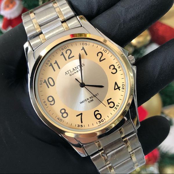 Relógio masculino atlantis social prata e dourado