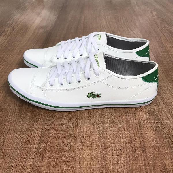 Sapatênis lacoste branco com verde