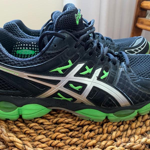 Tênis asics gel nimbus 14 masculino preto e verde