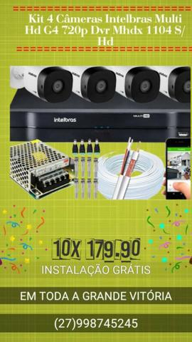 Kit 4 câmeras intelbras multi hd g4 720p dvr mhdx 1104 s/