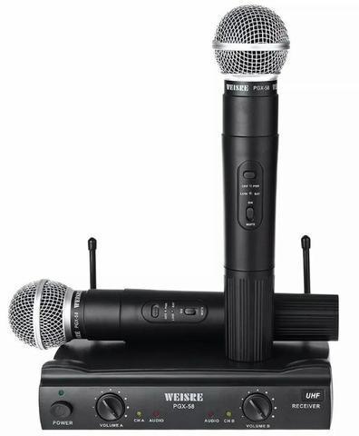 Kit microfone sem fio duplo weisre pgx-58 uhf profissional