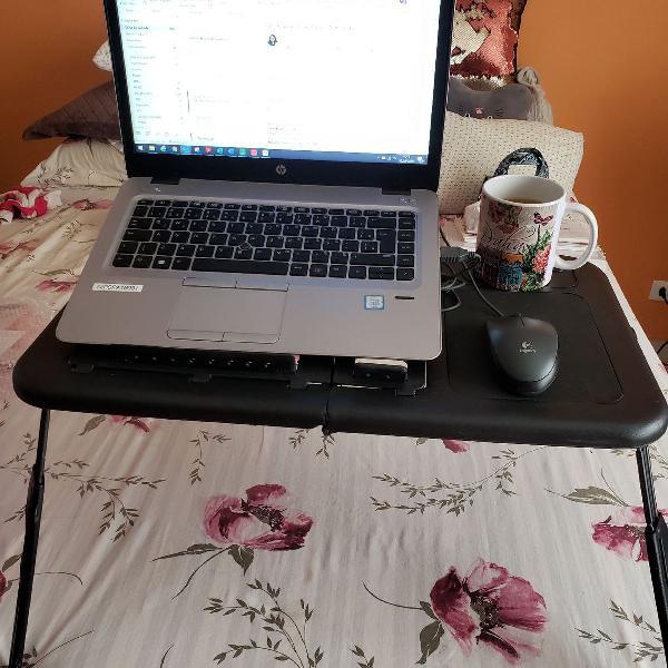Mesa notebook cama dobrável com 2 coolers usb articulavel
