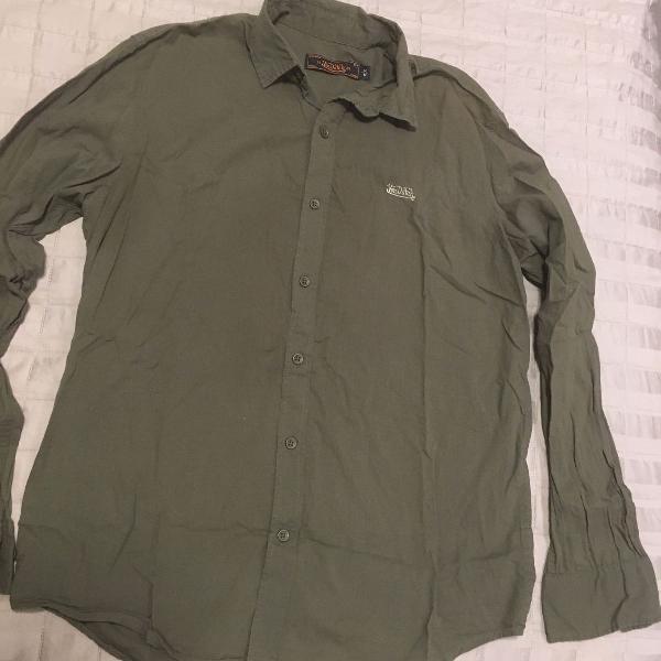 Camisa de botão von slim fit verde tam m von dutch
