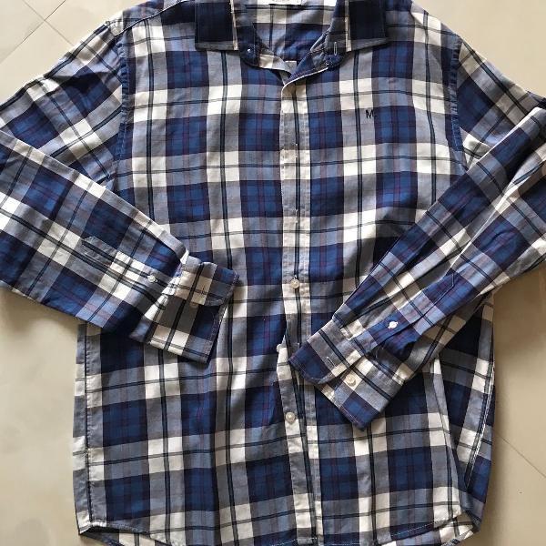 Camisa xadrez azul marinho e branco, m officer