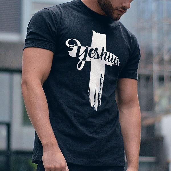 Camiseta masculina estampada moda evangélica yeshua cruz