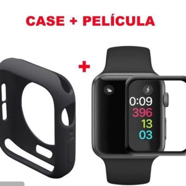 Case de silicone + película vidro 3d apple watch
