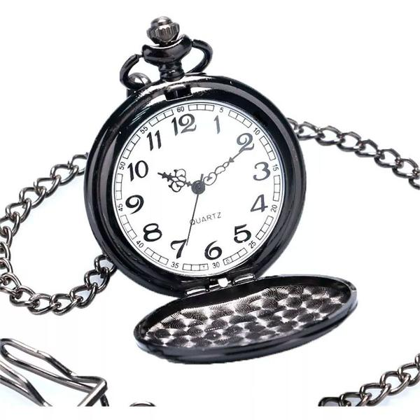 Relógio de bolso preto metal polido quartz