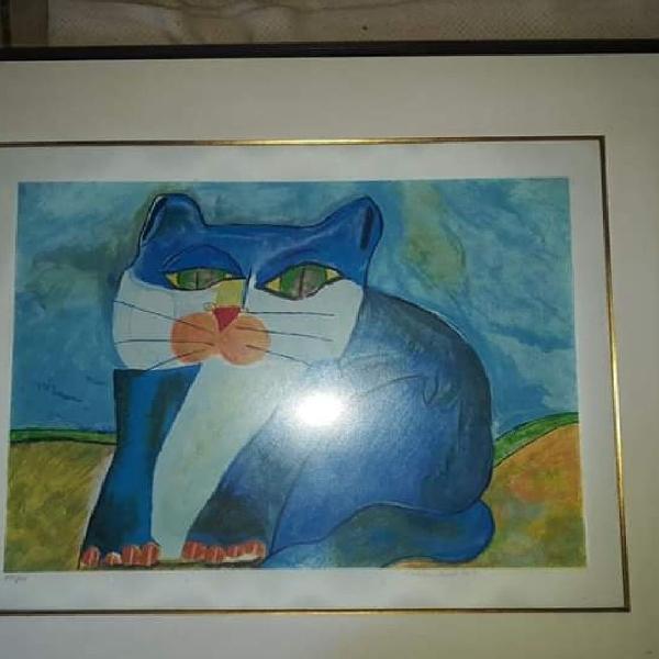 Aldemir martins tema gato azul com moldura a venda gravura