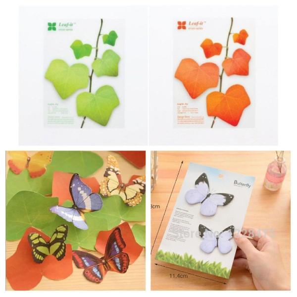 Notas adesivas folhas e borboletas