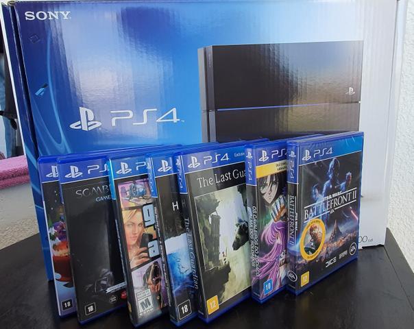 Playstation 4 500gb + 7 jogos + 2 controles + caixa original