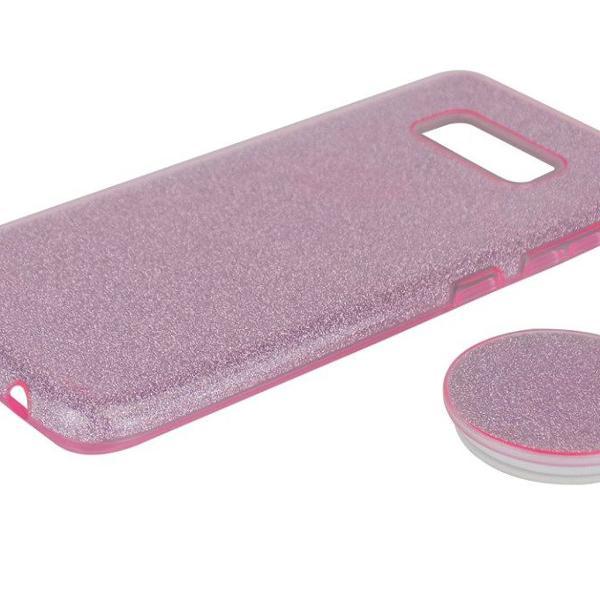 Capinha silicone samsung s8 9 10 plus gliter brilho + pocket
