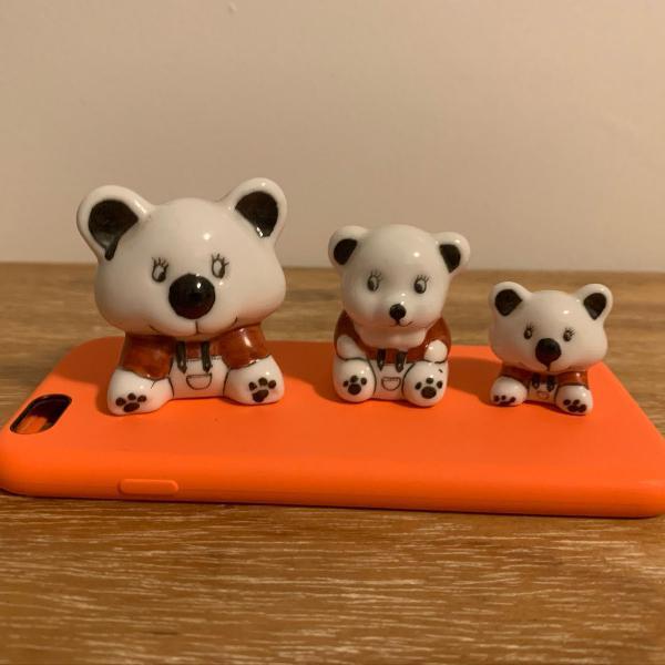 Conjunto de ursinhos em porcelana