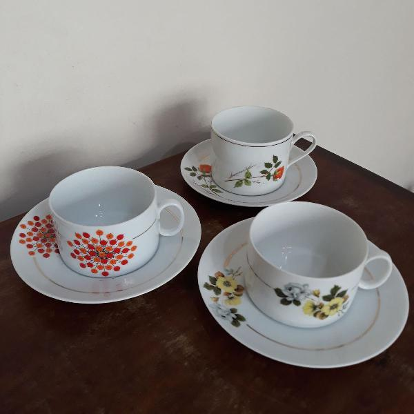 Lote 3 xícaras de chá vintage
