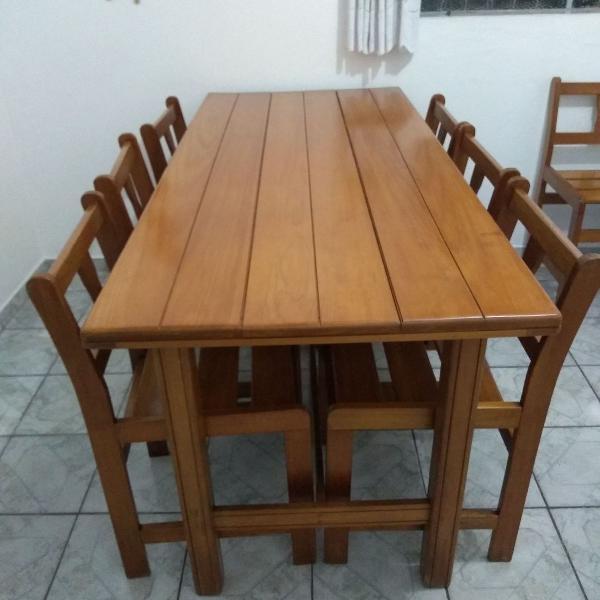 Mesa retangular madeira maciça com 8 lugares