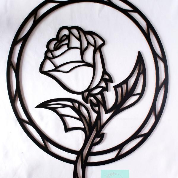 Painel moldura para espelho decorativo tema flor em mdf