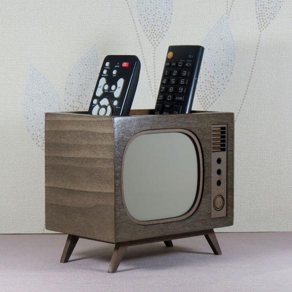 Porta controle remoto tv retrô madeira linha nostalgia