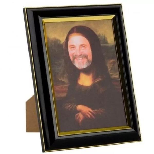 Porta retrato rosto divertido monalisa fotos 10x15