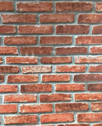 Papel de parede 3d vinilico tijolo a vista marrom vermelho