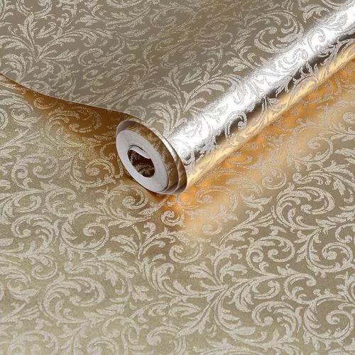 Papel de parede arabescos dourado metalizado brilhoso - rolo