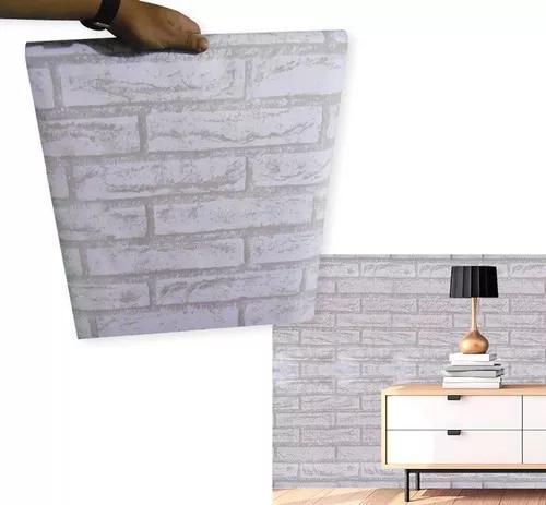 Papel de parede pedra branca auto adesivo rustico vinílico