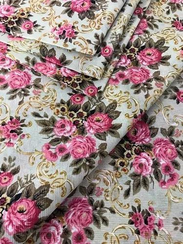 Tecido para parede floral vintage bege e rosa 3m