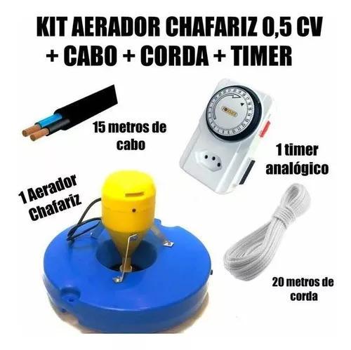 Aerador p/ tanques de peixes 0,5cv + kit cabo pp+timer+corda
