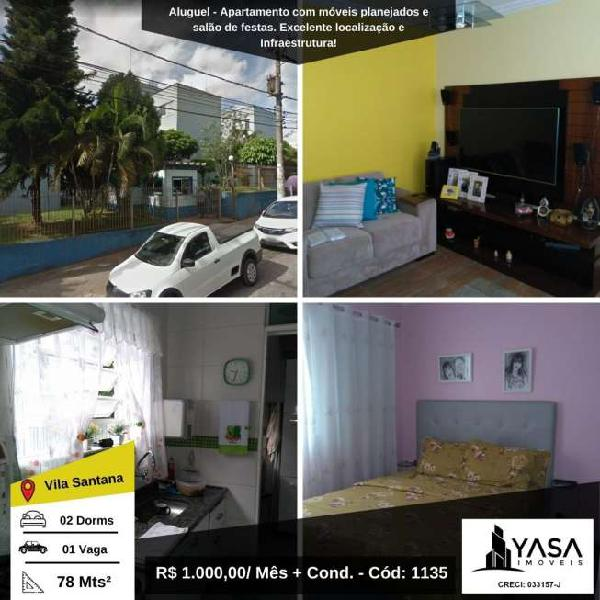 Apartamento para locação na vila santana - zona leste de