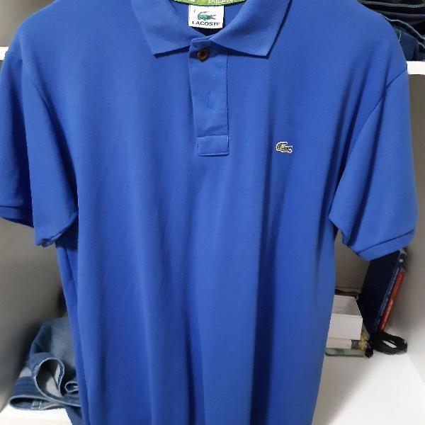 Camisa pólo lacoste azul tamanho g