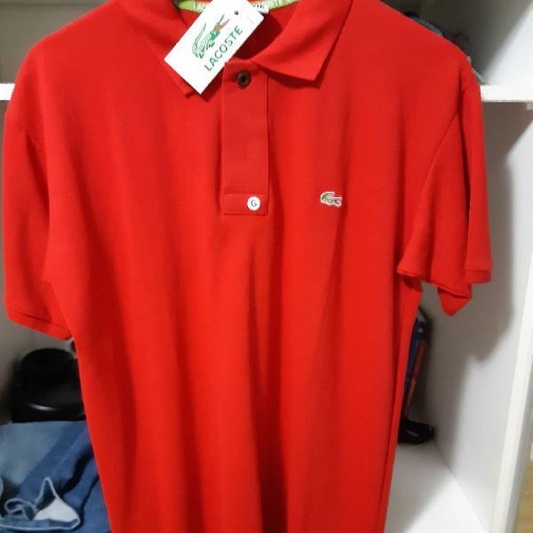 Camisa pólo lacoste vermelha tamanho g