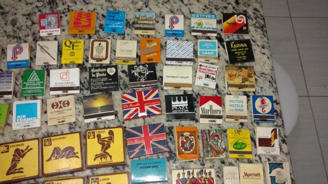 Coleção de caixas de fósforos antigas, década de 60, 70