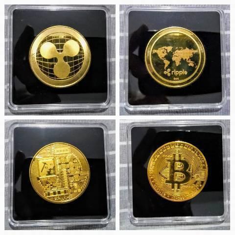 Moeda bitcoin e ripple para colecionador