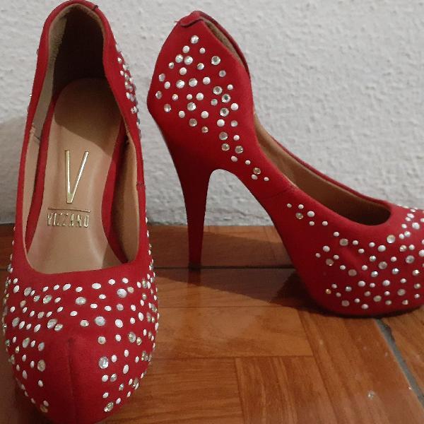 Sacarpin meia pata vermelho com brilho
