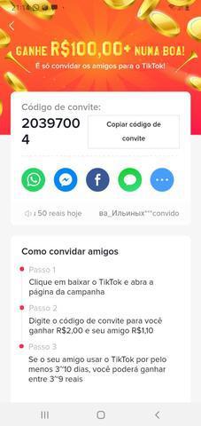 Venha ganhar dinheiro na internet no app tik tok