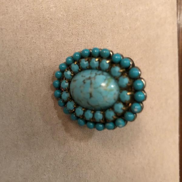 Anel bijouteria oval azul turquesa