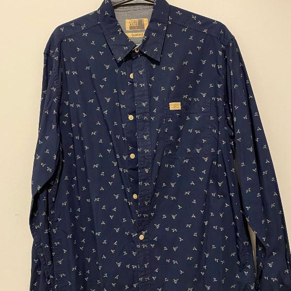 Camisa azul marinho north coast pássaros p