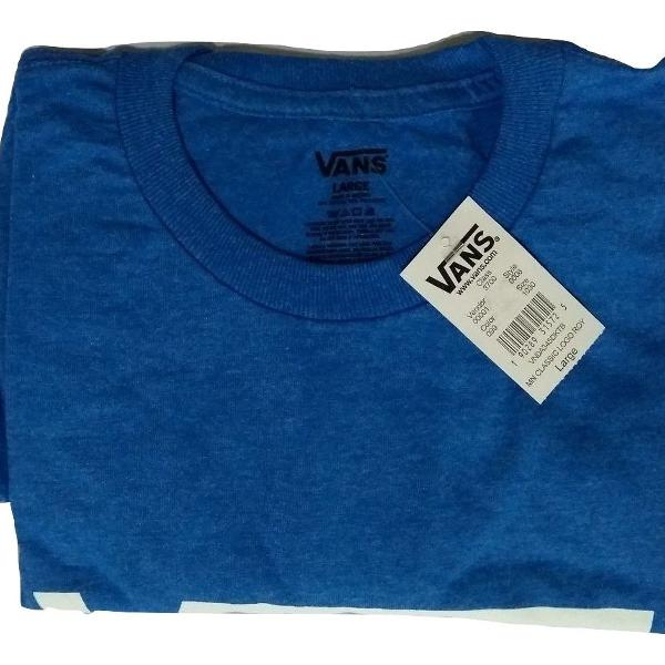 Camisa masculina vans azul detalhe branco