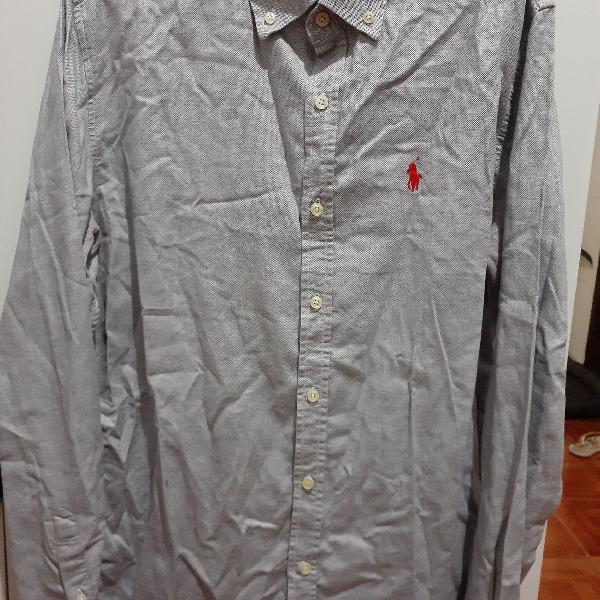 Camisa social ralph lauren azul branco