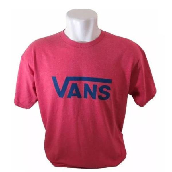 Camisa vans masculina vermelha detalhe azul marinho