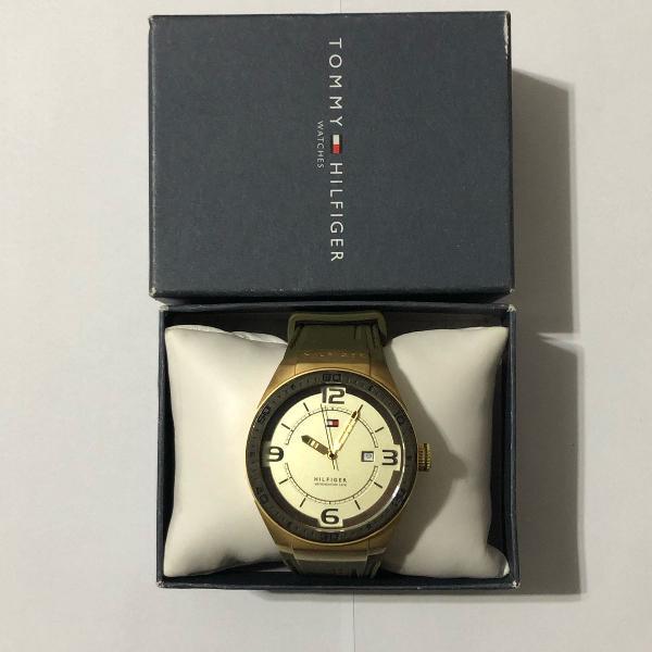 Relógio tommy hilfiger dourado original na caixa